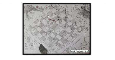 Rysunek ołówkiem: dwóch szachistów w maseczkach pochylonych nad szachownicą. Ostatnia faza rozgrywki - końcówka pionkowa.