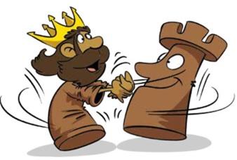 Rysunek dwóch bierek szachowych: króla i wieży, przedstawionych jako postacie ludzkie w radosnym uścisku.